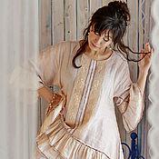 """Одежда ручной работы. Ярмарка Мастеров - ручная работа Бохо - комплект  льна и льняного кружева с панталонами """"Корица"""". Handmade."""