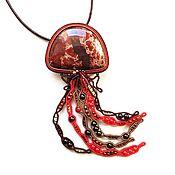 Украшения handmade. Livemaster - original item Soutache pendant, brooch pendant decoration of Jasper jellyfish. Handmade.
