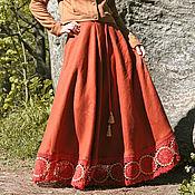 Одежда handmade. Livemaster - original item Linen Maxi skirt with lace