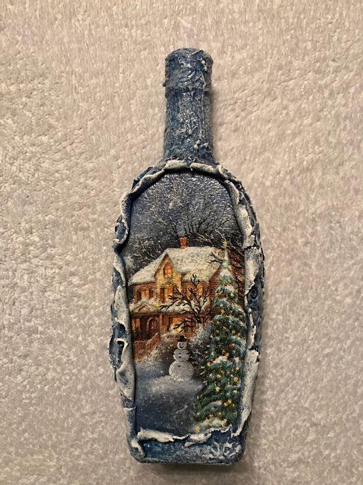 Подарки для влюбленных ручной работы. Ярмарка Мастеров - ручная работа. Купить Новогодний декор бутылок. Handmade. Голубой, бутылка в подарок