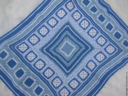 Текстиль, ковры ручной работы. Ярмарка Мастеров - ручная работа. Купить Голубой плед детский - 12.. Handmade. Голубой, акрил
