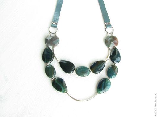 Ирина Моро.  Irina Moro.  Ожерелье `Лесное украшение` кожаное с агатом и яшмой.