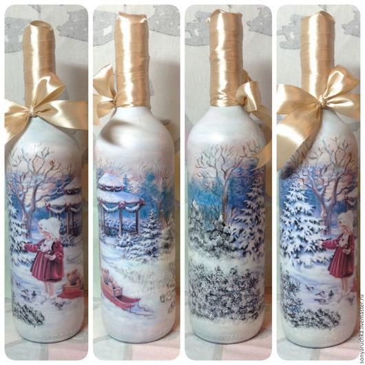 Новый год 2017 ручной работы. Ярмарка Мастеров - ручная работа. Купить Декор бутылок к новому году и Рождеству. Handmade. Голубой