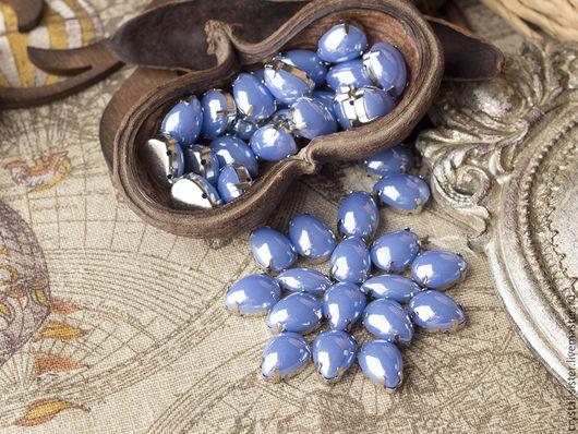 Для украшений ручной работы. Ярмарка Мастеров - ручная работа. Купить Стразы перламутровые капля 14х10мм Небесно-голубой. Handmade.