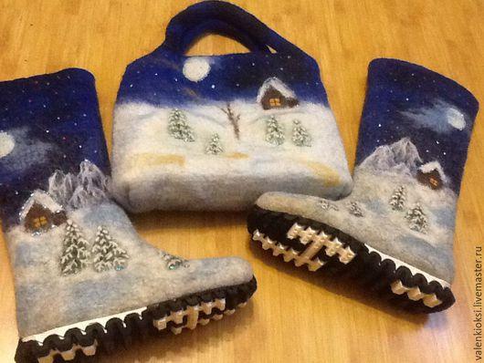 """Обувь ручной работы. Ярмарка Мастеров - ручная работа. Купить Комплект """"Зимний пейзаж"""". Handmade. Валенки, валенки на подошве"""