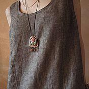 Одежда ручной работы. Ярмарка Мастеров - ручная работа Платье сарафан из льна Арт.01, меланж коричневое. Handmade.