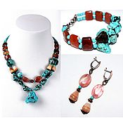 Украшения handmade. Livemaster - original item Set of earrings bracelet and necklace made of natural stones (m). Handmade.