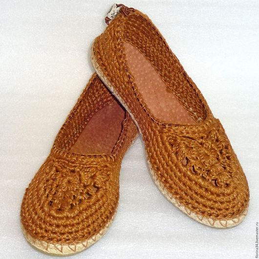 Обувь ручной работы. Ярмарка Мастеров - ручная работа. Купить Балетки вязаные Льняной шик, р.39.5, лен, оранжевый. Handmade.