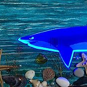 """Ночники ручной работы. Ярмарка Мастеров - ручная работа Деревянное панно с подсветкой """"Тайны морских глубин"""". Handmade."""