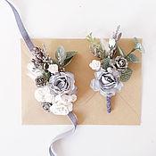 Бутоньерки ручной работы. Ярмарка Мастеров - ручная работа Бутоньерка свадебная и браслет невесты. Handmade.