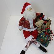 Мягкие игрушки ручной работы. Ярмарка Мастеров - ручная работа Санта Клаус с мешком. Handmade.