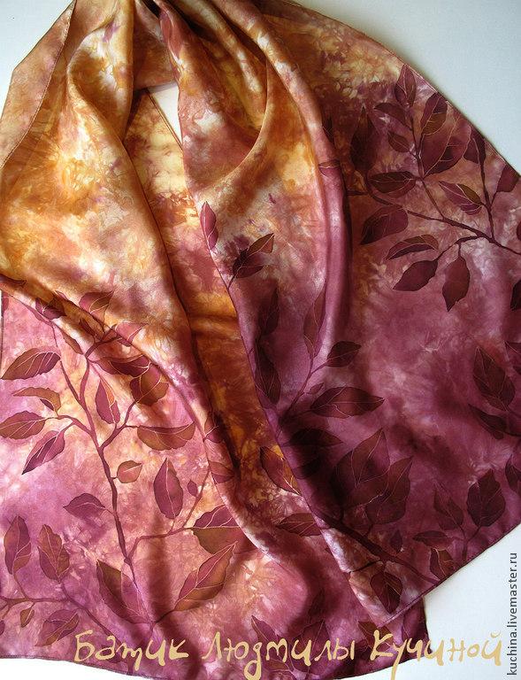 batik scarf 'Leaves. Bordeaux' silk, Scarves, St. Petersburg,  Фото №1