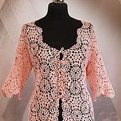 Одежда handmade. Livemaster - original item Knitted cardigan women`s crochet Pink pearl.. Handmade.