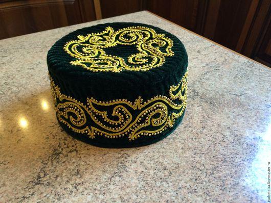 Шляпы ручной работы. Ярмарка Мастеров - ручная работа. Купить Тюбетейка. Handmade. Тёмно-зелёный, национальные узоры, бархат