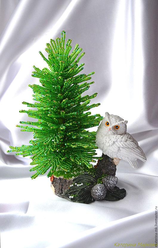 Деревья ручной работы. Ярмарка Мастеров - ручная работа. Купить Елочка из бисера с совой. Handmade. Зеленый, элемент интерьера
