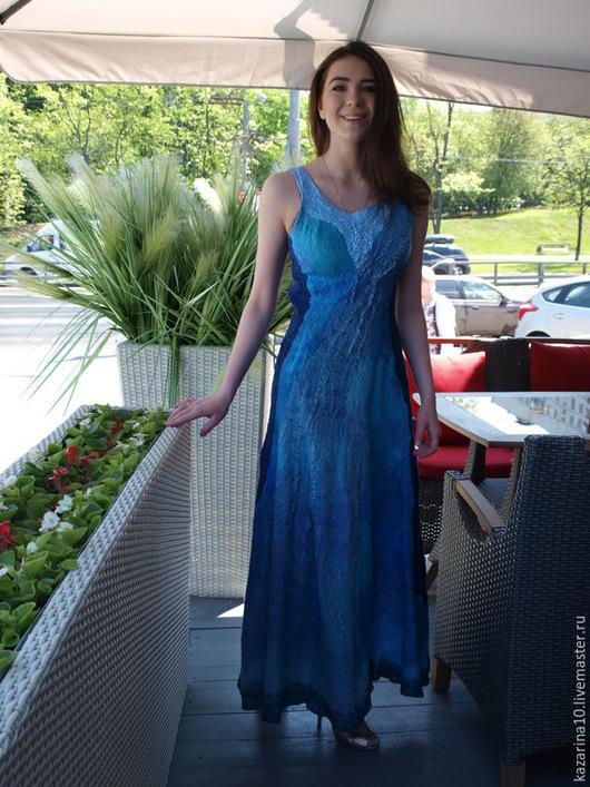 """Платья ручной работы. Ярмарка Мастеров - ручная работа. Купить Валяное платье """"NINA"""". Handmade. Синий, морская волна"""