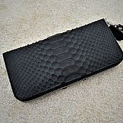 Wallets handmade. Livemaster - original item Black purse zipper from Python. Handmade.