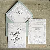 """Приглашения ручной работы. Ярмарка Мастеров - ручная работа Приглашение на свадьбу """"Контурные розы"""". Handmade."""
