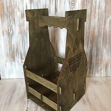 Для дома и интерьера ручной работы. Ярмарка Мастеров - ручная работа Ящик переноска для 4 бутылок пива. Handmade.
