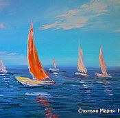 Картины и панно handmade. Livemaster - original item Oil painting on canvas. The Mediterranean sea. Landscape with yachts.. Handmade.