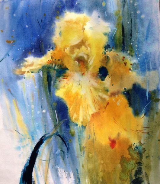 Картины цветов ручной работы. Ярмарка Мастеров - ручная работа. Купить Акварель Ирисы ( ночь). Handmade. Купить подарок