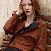 Одежда ручной работы. Ярмарка Мастеров - ручная работа Короткий жакет с кожаными отворотами / Куртка жакет женская. Handmade.