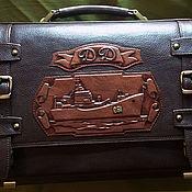 "Сумки и аксессуары handmade. Livemaster - original item Men`s leather briefcase ""SHIP"" with initials. Handmade."