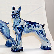 Статуэтки ручной работы. Ярмарка Мастеров - ручная работа Статуэтки: Статуэтка собака гжель любой породы. Handmade.
