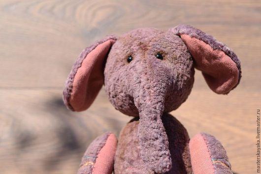 Мишки Тедди ручной работы. Ярмарка Мастеров - ручная работа. Купить Слоник с вышивкой Ежевич. Handmade. Брусничный, слоник тедди