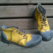Обувь ручной работы. Ярмарка Мастеров - ручная работа Броги из нубука BARCELONA серо-желтые. Handmade.