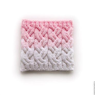 """Аксессуары ручной работы. Ярмарка Мастеров - ручная работа Вязаный снуд с косами """"Pinky"""" розовый белый. Handmade."""