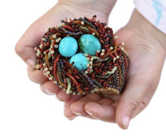 """Браслеты ручной работы. Ярмарка Мастеров - ручная работа. Купить Браслет """"Гнездышко дрозда"""". Handmade. Гнездо, необычное украшение"""