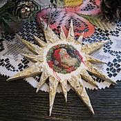 Подарки к праздникам ручной работы. Ярмарка Мастеров - ручная работа Новогодние подвески - елочные украшения звезды декупаж Санта. Handmade.