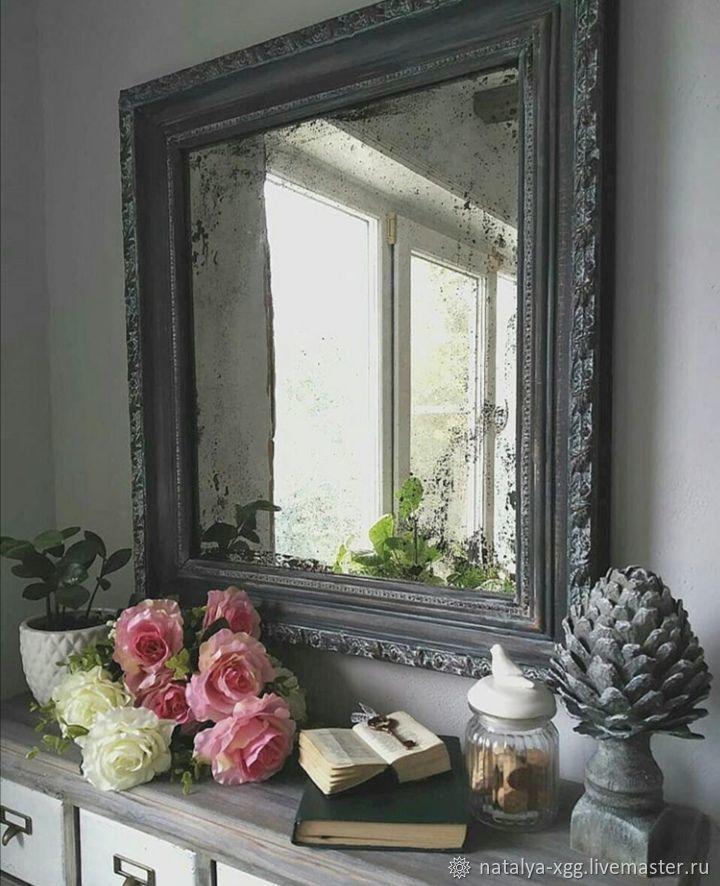 Зеркало в раме с состаренным зеркалом винтажный стиль, Зеркала, Барнаул,  Фото №1