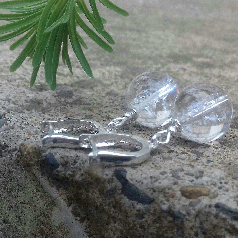 Серьги из гималайского кварца. Серебро 925. Горный хрусталь, Серьги классические, Краснодар,  Фото №1