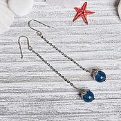Украшения handmade. Livemaster - original item Long silver plated earrings with blue agate. Handmade.