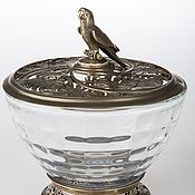 "Sets handmade. Livemaster - original item Sugar bowl ""monstera"" with the figure of a parrot; brass, glass, d105х. Handmade."