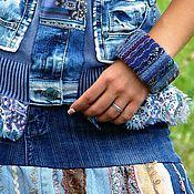 Украшения ручной работы. Ярмарка Мастеров - ручная работа Джинсовый браслет Безмятежность, лоскутное шитьё. Handmade.