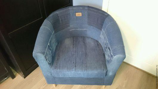 Мебель ручной работы. Ярмарка Мастеров - ручная работа. Купить Кресло джинсовый пэчворк. Handmade. Синий, кресло джинсовое
