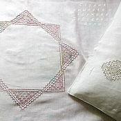 Для дома и интерьера handmade. Livemaster - original item Flax linen using hemstitch and embroidered Star. Handmade.