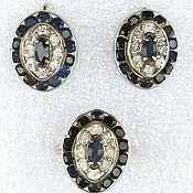 Винтаж handmade. Livemaster - original item Silver Set with Sapphires, Earrings and Ring, Vietnam. Handmade.