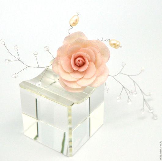 Свадебные украшения ручной работы. Ярмарка Мастеров - ручная работа. Купить Шпильки для невесты  с цветами  Роза с веточкой. Handmade.