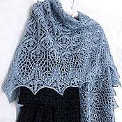 Аксессуары handmade. Livemaster - original item Shawl Gray Blue Spring Flowers Openwork Knitting. Handmade.
