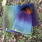 handmade. Livemaster - original item Kit Lavender (Snood in 2 turnover a cap with pompom). Handmade.