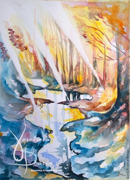 """Пейзаж ручной работы. Ярмарка Мастеров - ручная работа. Купить Картина акварелью """"Весенняя музыка"""". Handmade. Разноцветный, весна, лес"""