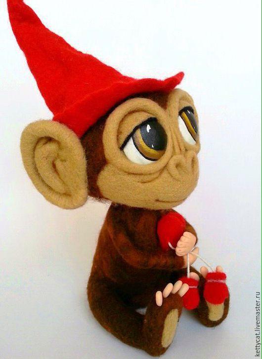 Игрушки животные, ручной работы. Ярмарка Мастеров - ручная работа. Купить Игрушка обезьяна Сантик. Handmade. Коричневый, купить обезьянку