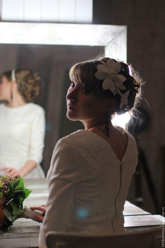 Шапки ручной работы. Ярмарка Мастеров - ручная работа. Купить Свадебное украшение для волос ободок. Handmade. Комбинированный, ободок, вуалетка
