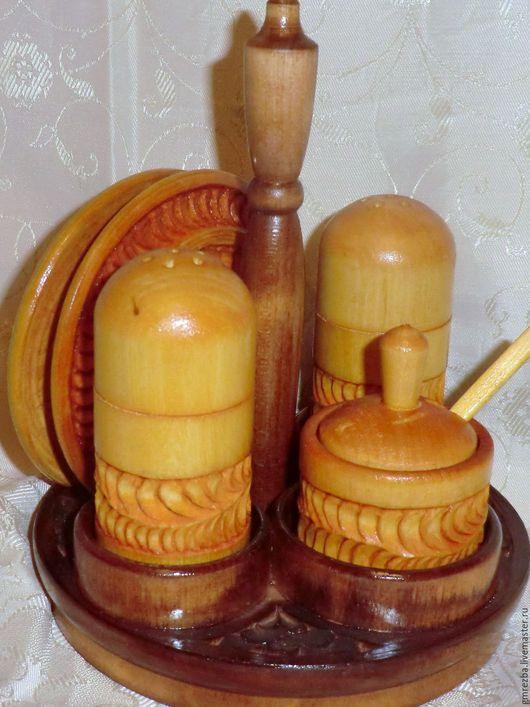 Сувениры ручной работы. Ярмарка Мастеров - ручная работа. Купить Набор для специй из дерева Художественная резьба. Handmade. Желтый