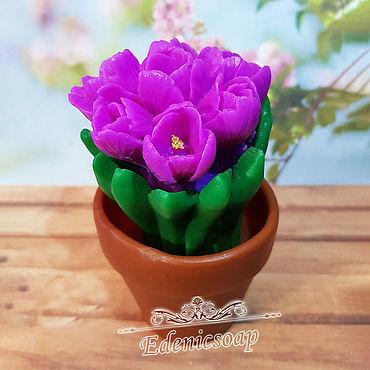 """Косметика ручной работы. Ярмарка Мастеров - ручная работа """"Тюльпаны в горшочке"""" мыло ручная работа подарок букет цветов весна. Handmade."""