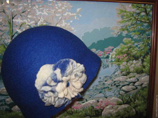 """Шляпы ручной работы. Ярмарка Мастеров - ручная работа. Купить Шляпка из шерсти """"Ар нуво в цвете индиго"""". Handmade. Синий"""
